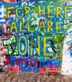 Recent addition to the John Lennon Wall, Prague, Czech Republic